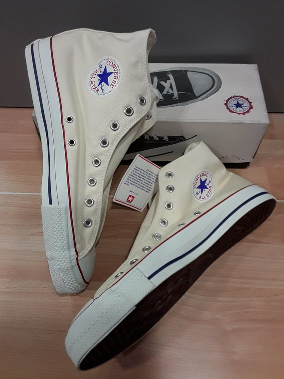 Converse ALL STAR Made in U.S.A. NEW with original box shoes Canvas Hi vintage 1990's Chuck Taylor collectable non bleached White