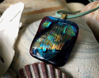 Glass pendant blues and greens boho chic ocean