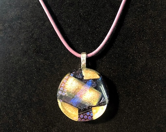 Lovely purple and peach dichroic glass pendant