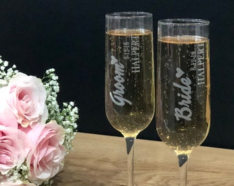 Wedding Glasses - Personalized Champagne Glasses - Champagne Glasses - Champagne Flutes - Bridesmaid Champagne Flute - Toasting Glasses
