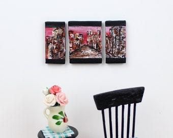 1:12 scale Abstarct Acrylic Painting On Canvas Dollhouse - City