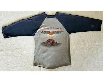 fa74bbc38e6d Vintage '81 Journey Escape Tour T-Shirt Ventura Raglan Sleeve single stitch  sz S