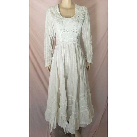 Vintage 70s White Cotton PRAIRIE DRESS Renaissance