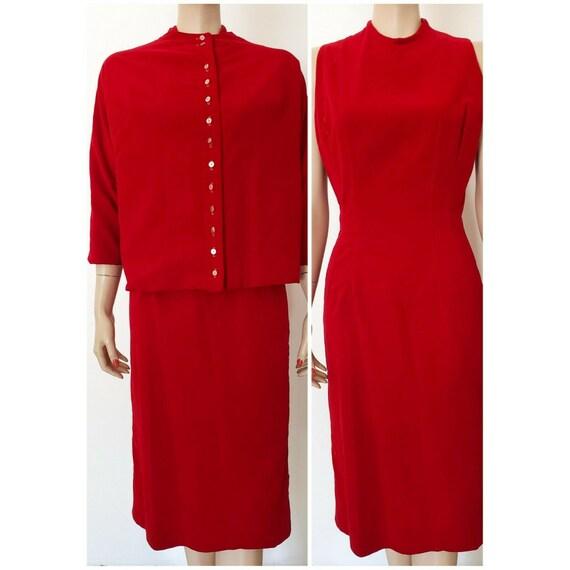 Vintage 50s Jonathan Logan Red VELVET DRESS & JACK