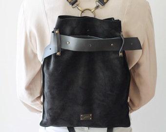 8a714d28e6e0 Black Leather Backpack
