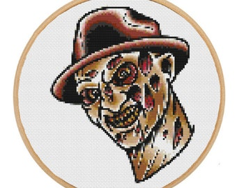 Freddie Kruger-Nightmare on Elm Street Counted Cross Stitch Kit Horror