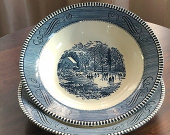 Royal China Currier & Ives Early Winter Cereal Bowls