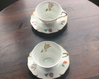 Ajco France Floral Teacup and Saucers