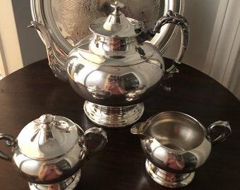 Sheridan Silverplate Coffee Pot, Creamer & Sugar Bowl with F.B Rogers Silverplate Serving Tray