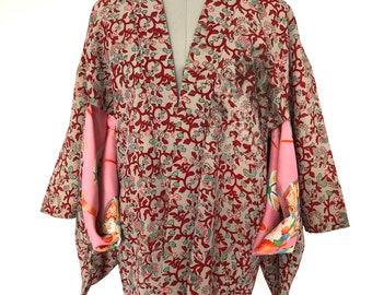 Size XS or XXS Vintage Chinese Robe in Floral Turquoise Satin with Pink Lame Details and Purple Knotted Button Closures