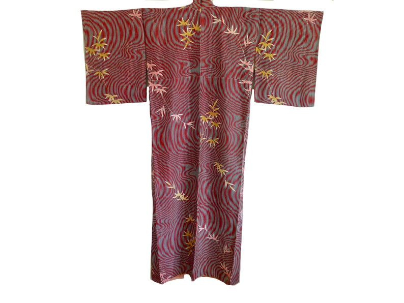 BAMBOO WATER vintage Silk Japanese Kimono with wave and bamboo motifs