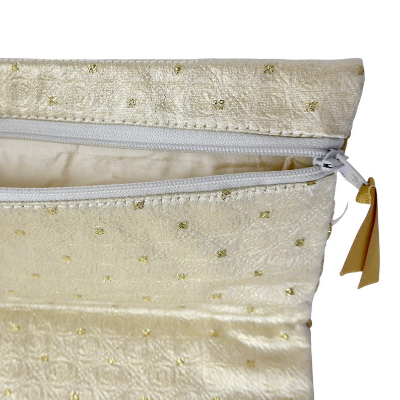 Fully lined and interlined FOLD-OVER CLUTCH Cream and Gold with fine Lace in ivory,\u00a0zip closure.\u00a0 Made /'in-house/' by Arte/'fice