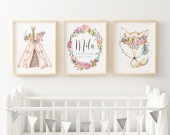 Girls Woodland Print Set / Woodland Boho Birth Prints / Girls Room Decor /  Girls Digital Print Set / Newborn Girl Gift / Girls Boho Wall Art