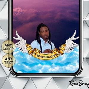 Memory Geofilter Snapchat In Loving Memory Of Geo Angel Wings Snapchat Memorial Filter Bright Memory Geo Funeral Digital Snap Chat Filter