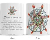 Meaningful gift, Dreamcatcher mug with inspirational quote. power of vulnerability, postive affirmation, mindfulness recovery gifts