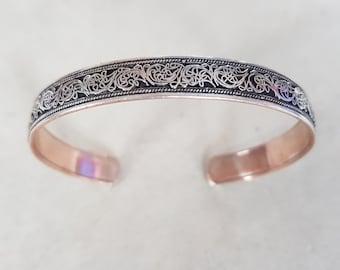 Handmade Pure Copper Bracelet . Floral Design . Silver Plated .