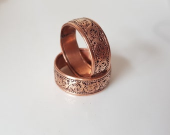 Handmade Copper Ring with floral design