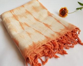 Hemp Scarf, Handloom Shawl, Shibori Shawl, Tie Dye Orange, White/Black, Red Tassled