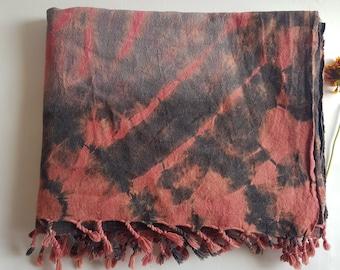 Hemp Scarf, Handloom Shawl, Shibori Shawl, Tie Dye Black, Red Tassled
