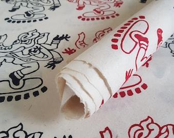 Handmade Lokta Paper . Tree Free & Sustainable . Great For Gift Wrap/Book binding/Decoupage/Scrapbooking/Craft . Block Print  Dancing Ganesh