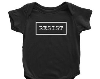 0b8dc6930 Resist Baby Bodysuit | Impeach Trump Infant One Piece Romper | Not My  President Kid's Shirt | Liberal Political Baby Gift