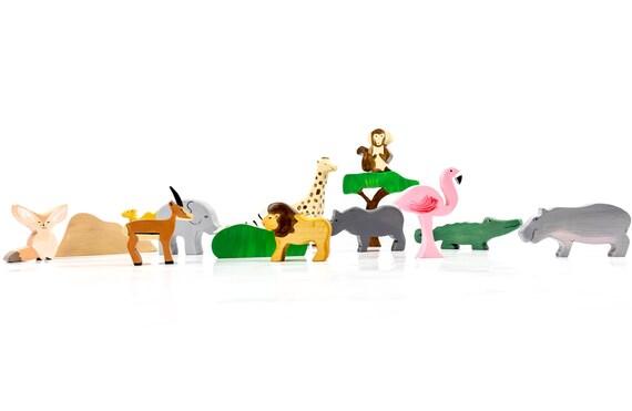 Animaux d'Afrique jouets en bois, jouets Waldorf et Montessori, cadeau enfant source d'inspiration, naturel bébé et enfant en bas âge des jouets, figurine éducatif ensemble