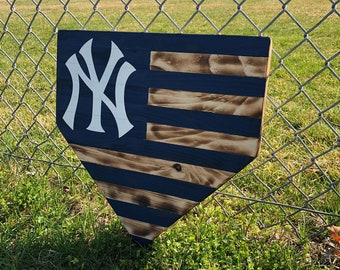 New York Yankees Home Plate Sign / Baseball Decor / Wood Flag / Rustic Yankees Sign / Baseball Sign / Gifts for him Father's Day Gift