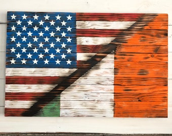 9177a7071085 Wooden American Flag   USA Flag   Ireland Flag Rustic Wood Flag - Gifts for  her Mother s Day Birthday Retirement Housewarming Military