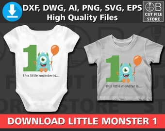 1 LITTLE MONSTER 1st Birthday Age One | Svg Dxf Png Ai Eps Files | Silhouette Cut File Template Tshirt Shirt Clipart Cricut Digital download