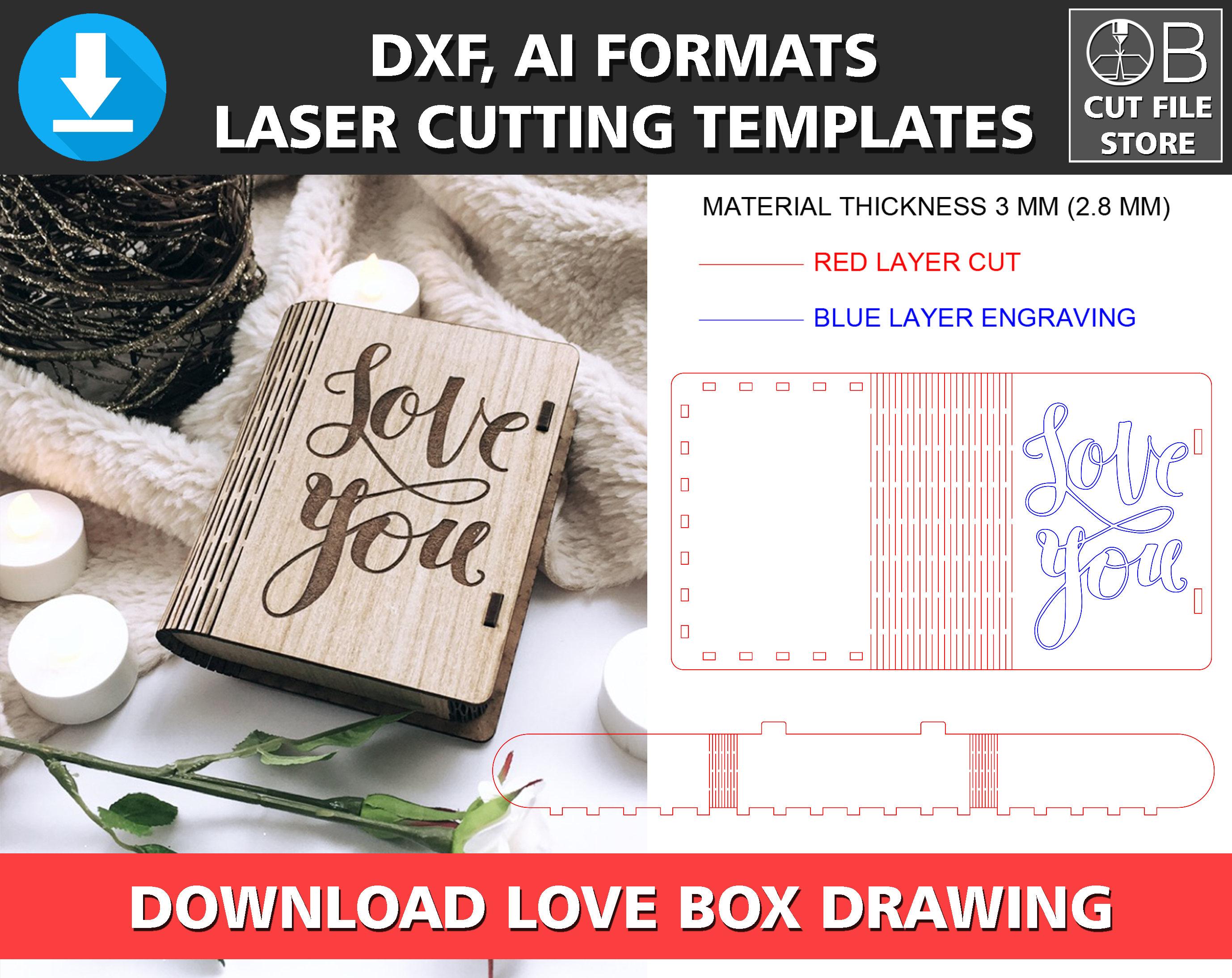 LIBRO caja láser corte plantilla vector dxf ai formato amor | Etsy