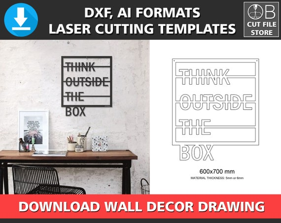 wall decor laser cutting template think outside the box dxf etsy