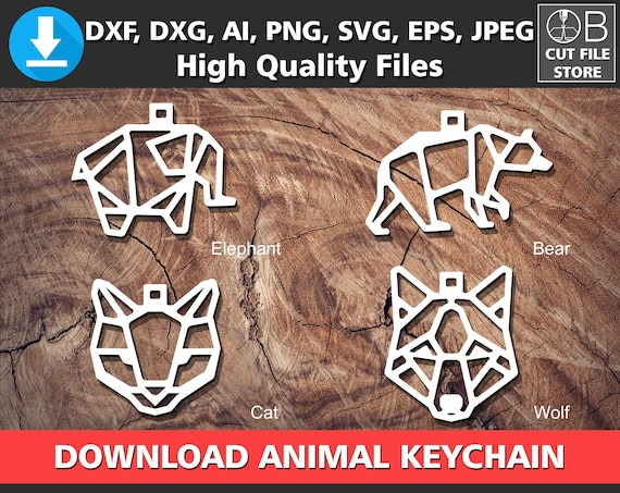 ANIMAL KEYCHAIN Wooden Key Chain Plexi Laser Cutting Templates | Etsy
