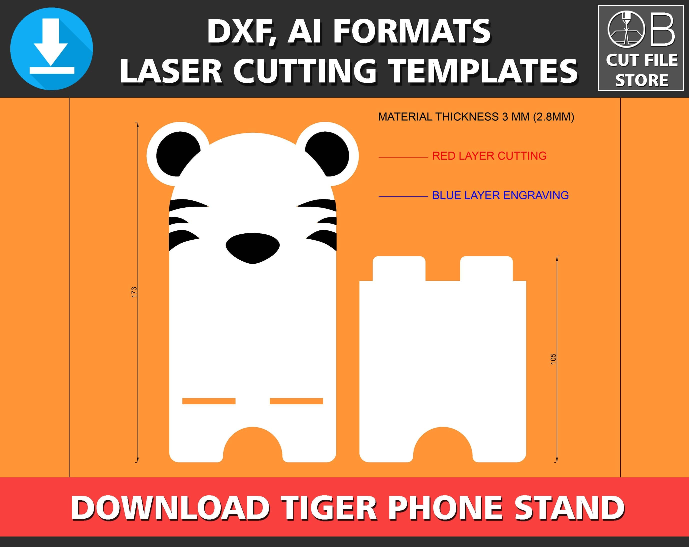 tiger phone stand laser cutting template iphone stand. Black Bedroom Furniture Sets. Home Design Ideas