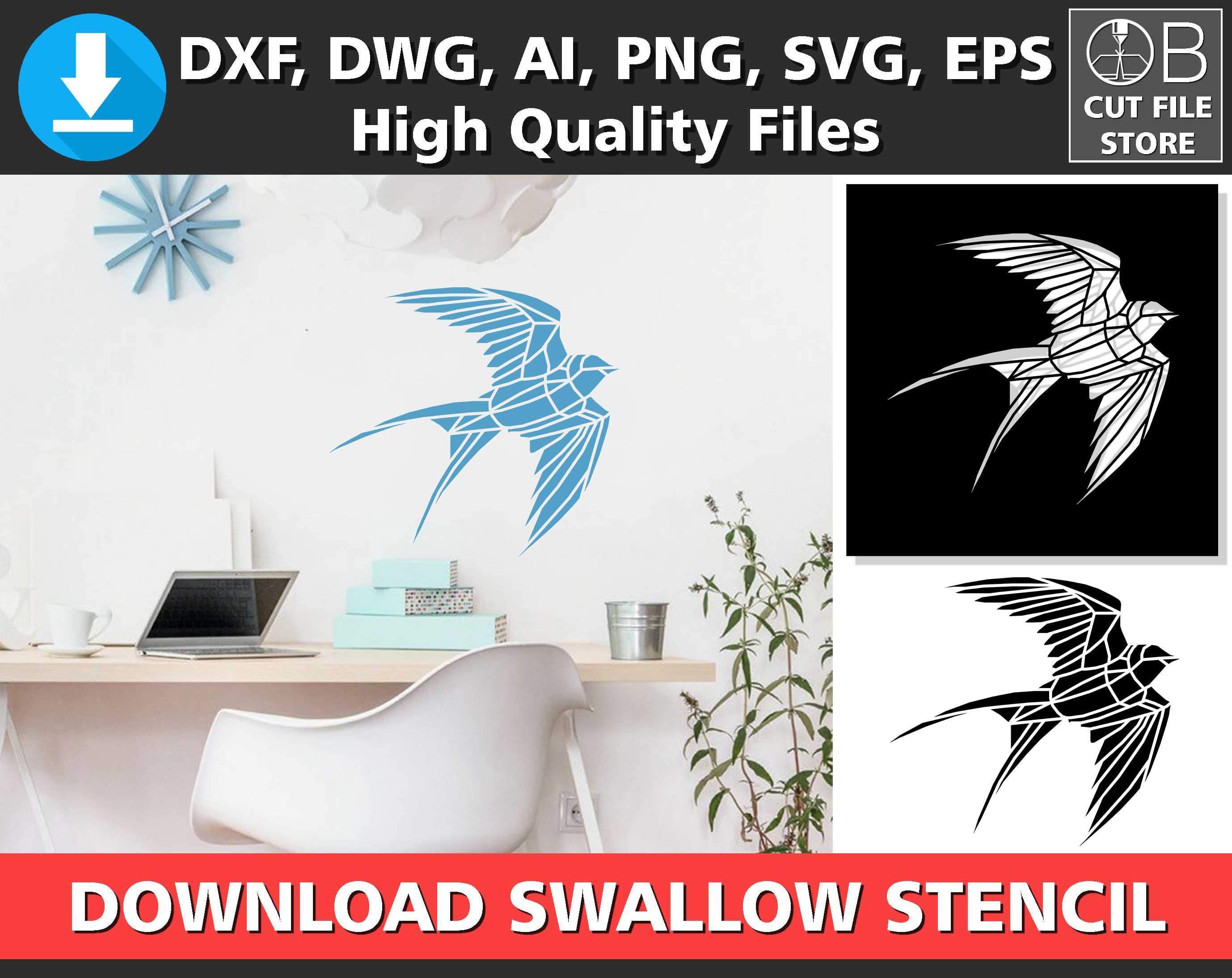 Swallow Stencil Digital Bird Stencil Laser Cutting Template Etsy