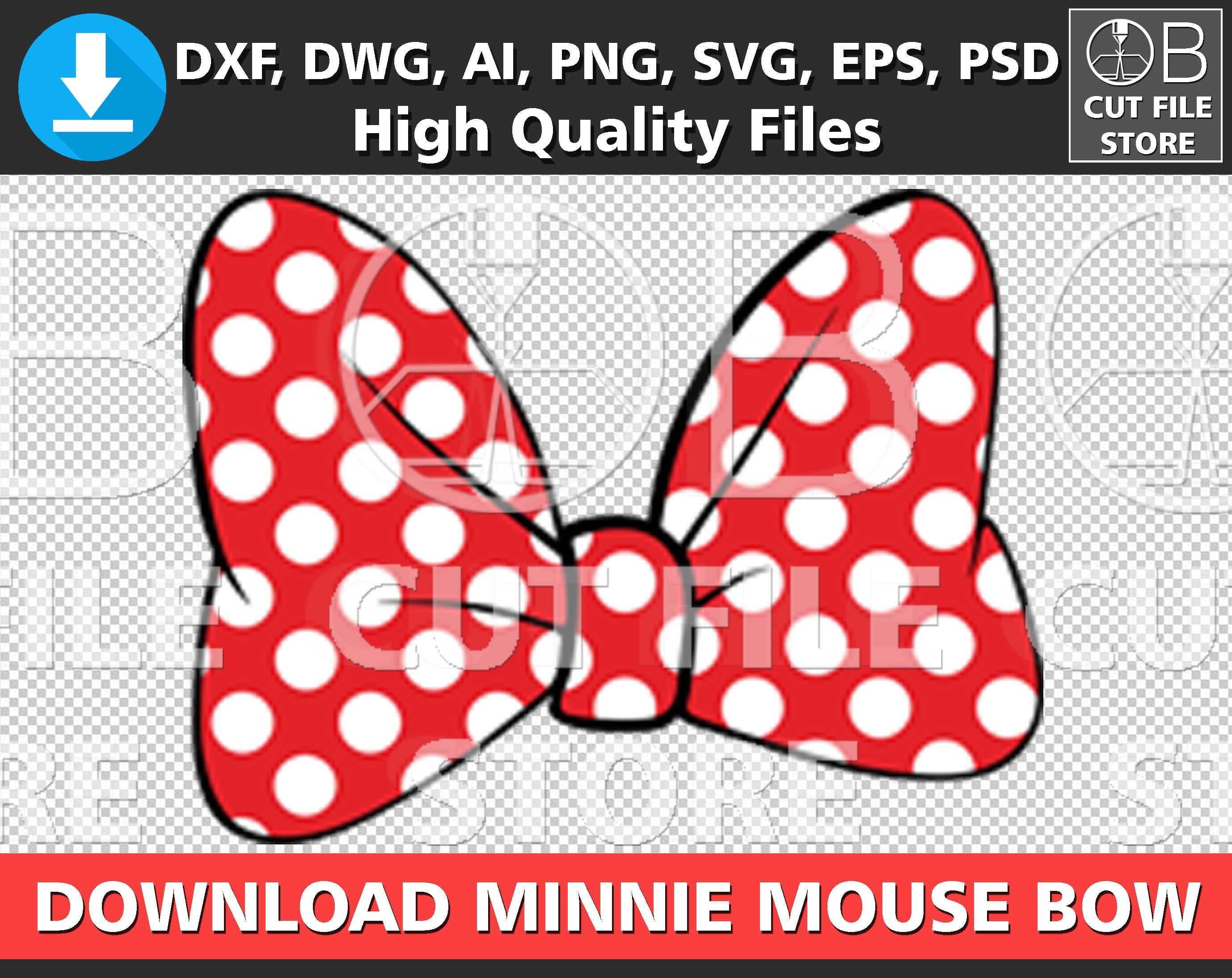 Minnie Mouse Bow Svg Dxf Png Ai Eps File Ribbon Silhouette Etsy