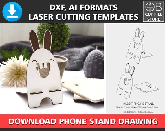 Rabbit Phone Stand Laser Cutting Template Iphone Stand Cutting Etsy