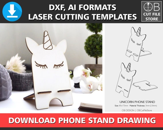 Unicorn Phone Stand Laser Cutting Template Iphone Stand Etsy