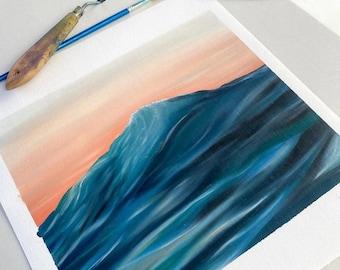 Original Sunset wave oil painting - 100% cotton paper -28x30 cm