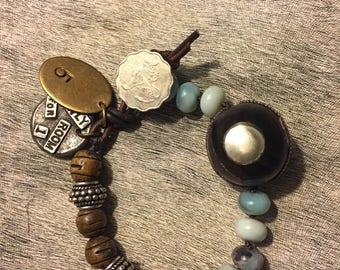Burnt Horn and Aquamarine handmade bracelet