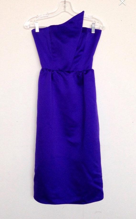 Vintage 80s purple geometric prom dress