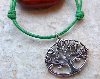 TREE of life knots bracelet cords either leather or waxed thread lucky charm