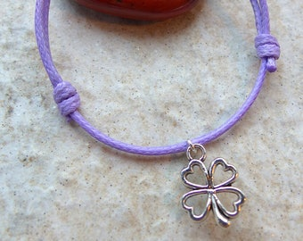 CLOVER bracelet with sliding knots cords either leather or waxed thread lucky charm