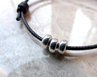 DONUTS knots 925 silver bracelet cords either leather or waxed thread lucky charm
