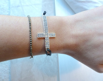 Sliding knots rhinestones & silver cross bracelet cords either leather or waxed thread lucky charm