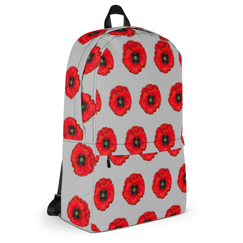 Red Poppy Flower print backpack rucksack compatible with 15 laptop Perfect back pack rucksack for work college school