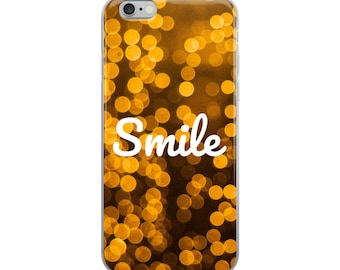 Twinkle Lights and Smile Print iPhone Case, iPhone 6 Plus, iPhone 6S Plus, iPhone 6/6s, iPhone 7 Plus, iPhone 8 Plus, iPhone 7/8, iPhone X