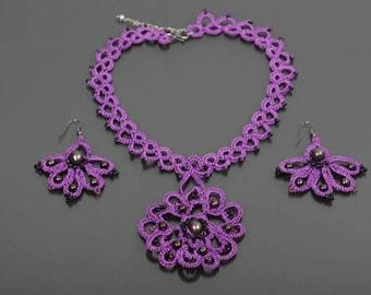Tatted jewelry Tatted lace Purple wedding ideas Tatting lace jewelry Tatted gift Bridal pearl pendant Purple flower dangle Wife jewelry idea