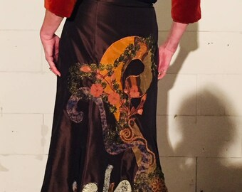 long silk gala skirt with handmade unique application and jacket