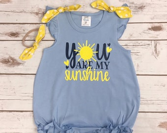 3d045f4a731b You Are My Sunshine Baby Bubble Romper - Infant Girl Clothes for Spring  Sunshine Summer Romper - Angel Sleeve Baby Girl Clothes