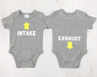 561c54751 Intake Exhaust Baby Boy Outfit - Funny Boy Bodysuit Sayings - New Dad Gift  - Infant Boy Outfits